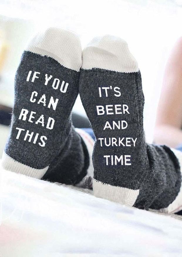 Thanksgiving It's Beer And Turkey Time Socks