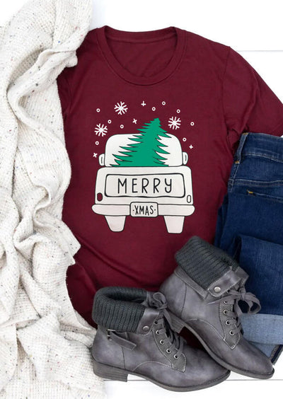 Merry Christmas Tree Snowflake T-Shirt Tee - Burgundy