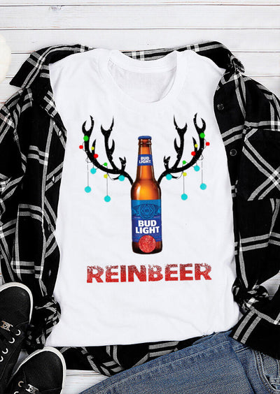 Bud Light Reinbeer T-Shirt Tee - White