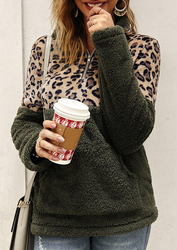 Leopard Printed Splicing Plush Warm Sweatshirt - White