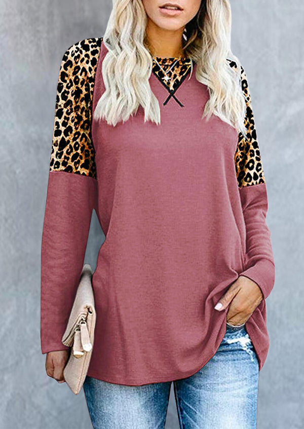 Leopard Printed Splicing T-Shirt Tee without Necklace - Pink