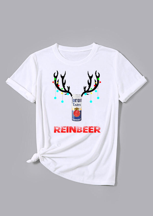 Christmas Reinbeer O-Neck T-Shirt Tee - White