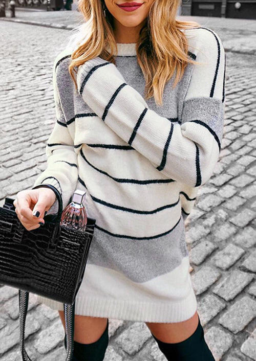 Striped Splicing Knitted Mini Dress - White