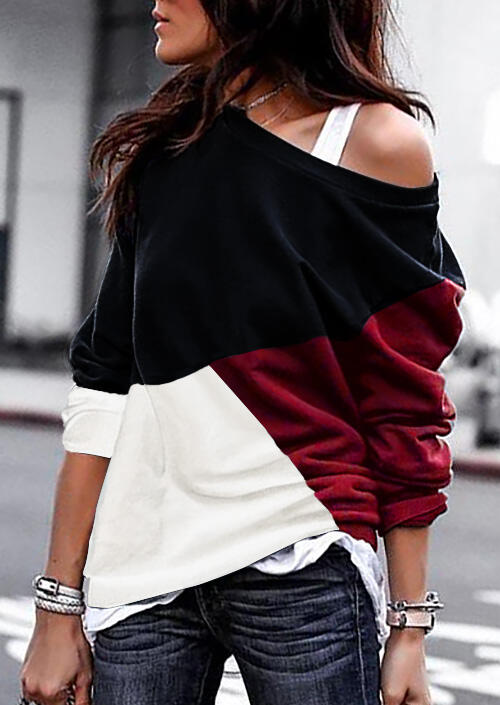 Color Block Batwing Sleeve Blouse without Necklace - Red