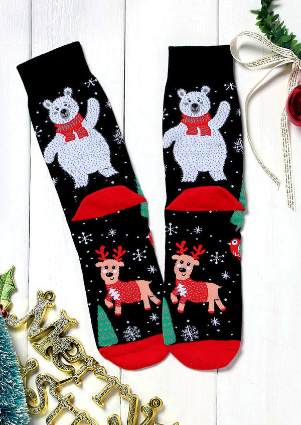 Christmas Tree Snowflake Elk Bear Socks