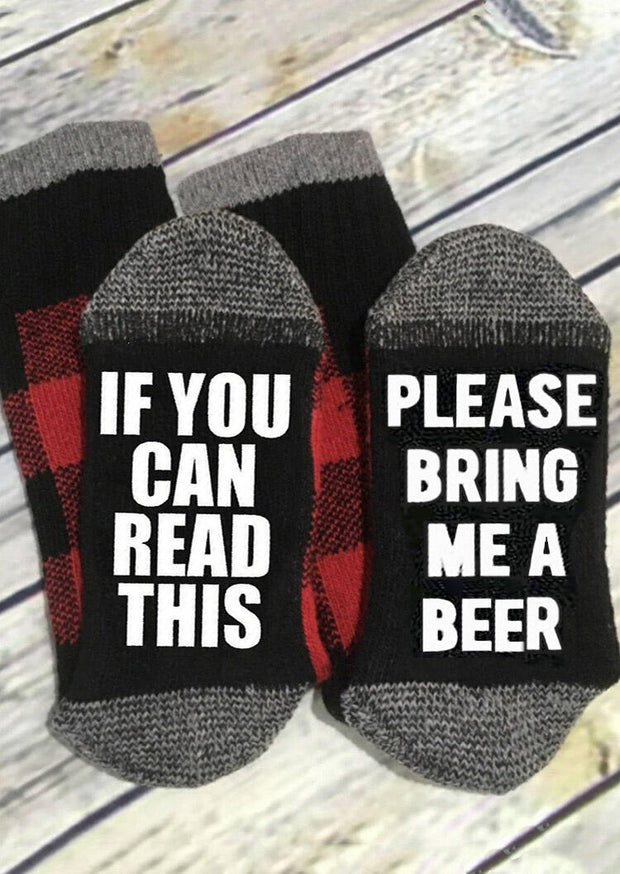 Plaid Please Bring Me A Beer Socks