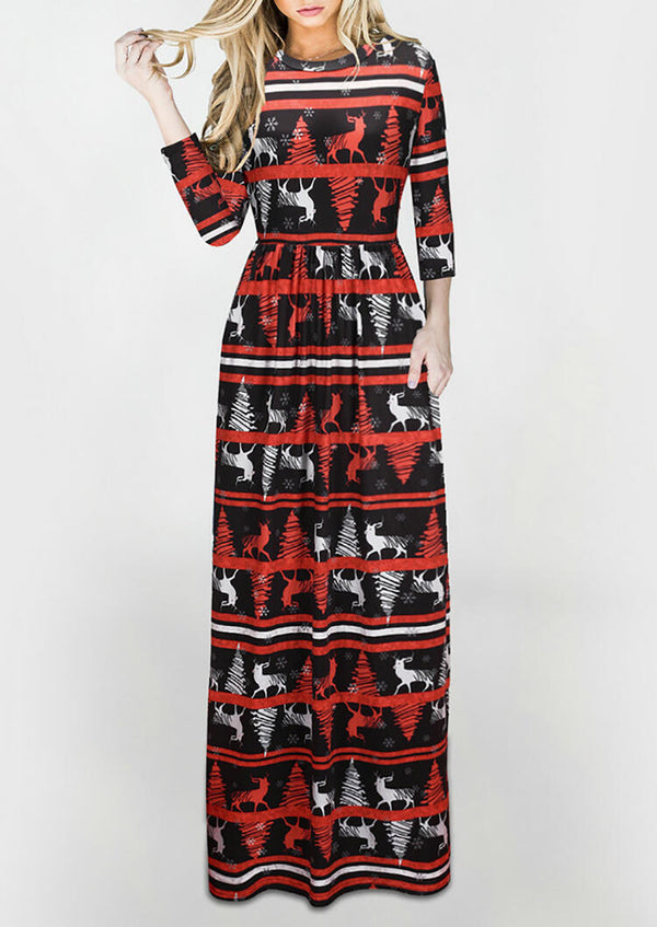 Christmas Reindeer Snowflake Maxi Dress without Necklace - Black