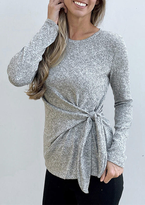 O-Neck Long Sleeve Tie Blouse - Gray