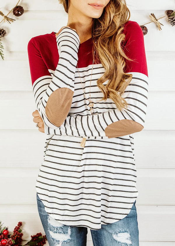 Striped Splicing Elbow Patch T-Shirt Tee without Necklace - Red