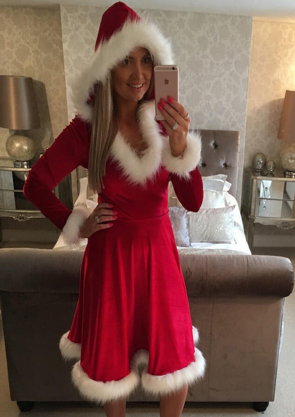 Christmas Feathers Hooded Pajamas Casual Dress - Red