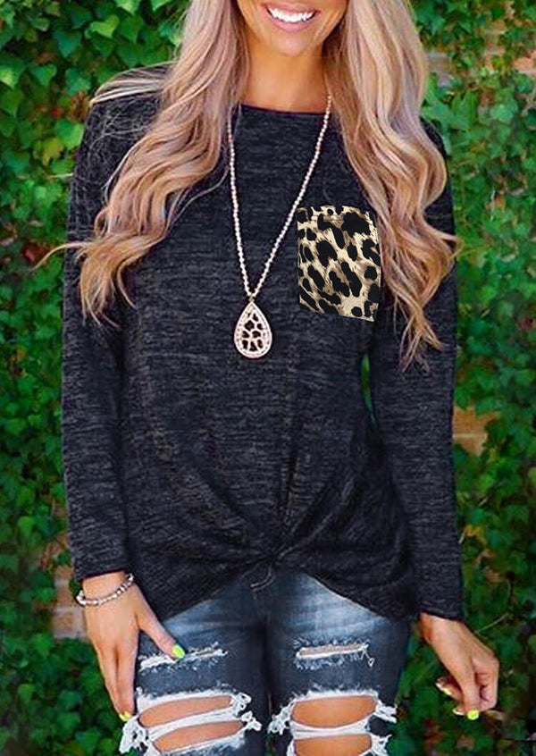 Leopard Printed Splicing Twist Blouse without Necklace - Navy Blue