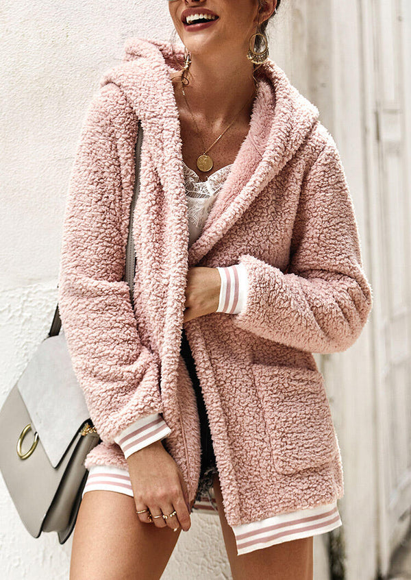 Solid Pocket Plush Hooded Coat without Necklace - Pink