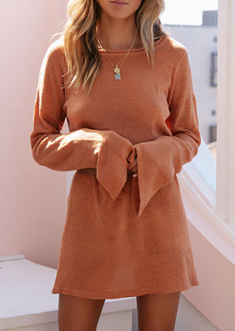 Solid O-Neck Knitted Mini Dress without Necklace - Orange