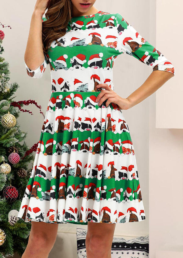 Christmas Animals O-Neck Mini Dress - White