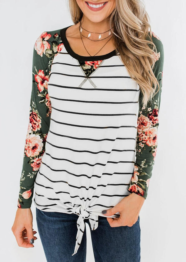Floral Striped Splicing Tie T-Shirt Tee without Necklace