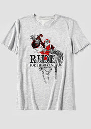 Santa Claus Ride For The Brand T-Shirt Tee - Gray