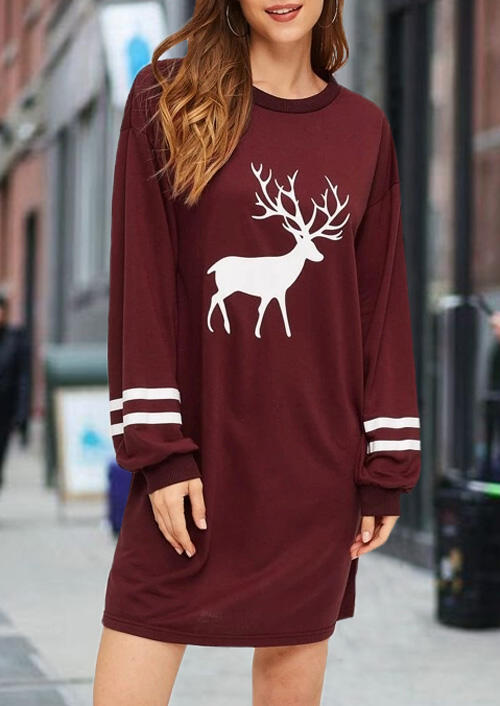 Christmas Reindeer O-Neck Mini Dress - Burgundy