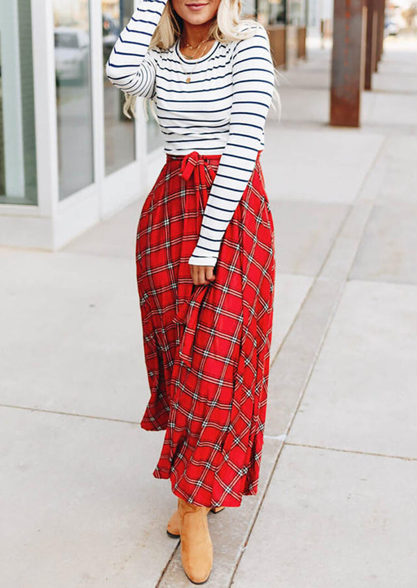 Plaid Striped Printed Splicing Pocket Maxi Dress without Necklace - Red