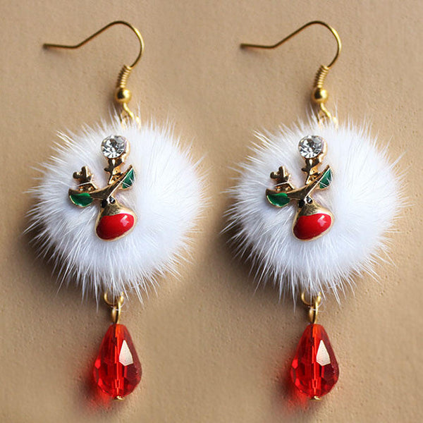 Christmas Elk Santa Claus Pompom Red Crystal Earrings