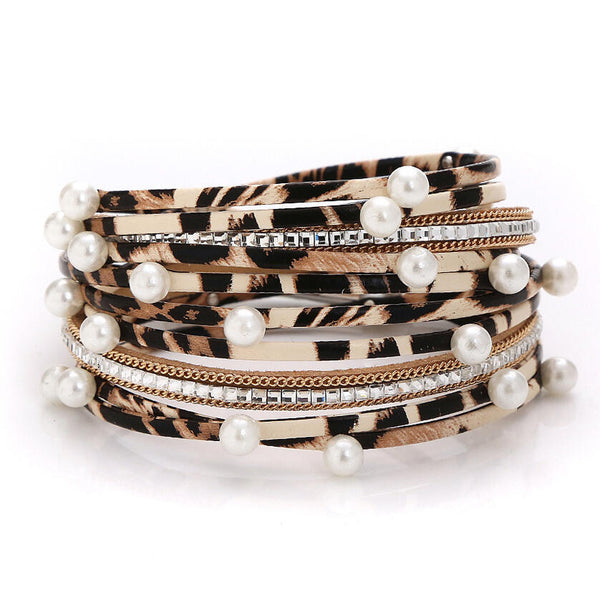 Leopard Printed Pearl Multi-Layered PU Leather Bracelet