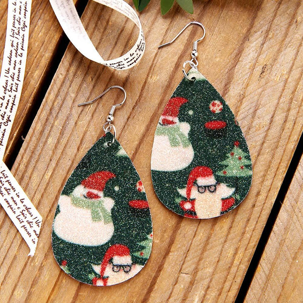 Plaid Snowman Christmas Tree Leather Earrings