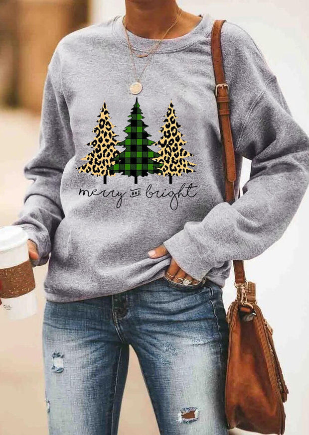 Plaid Leopard Printed Merry And Bright Sweatshirt without Necklace - Gray