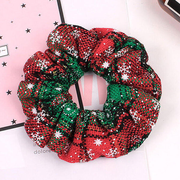 Plaid Snowflake Christmas Elastic Hair Ties