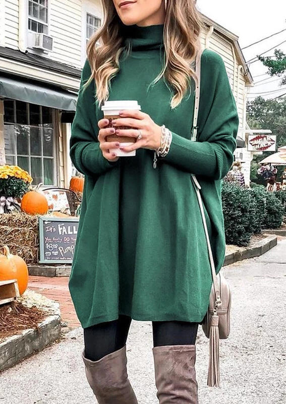 Solid Knitted Turtleneck Mini Dress - Green