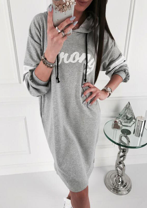 Strong Drawstring Pocket Slit Mini Dress without Necklace - Gray