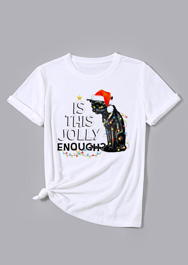 Black Cat Is This Jolly Enough Christmas Lights T-Shirt Tee - White