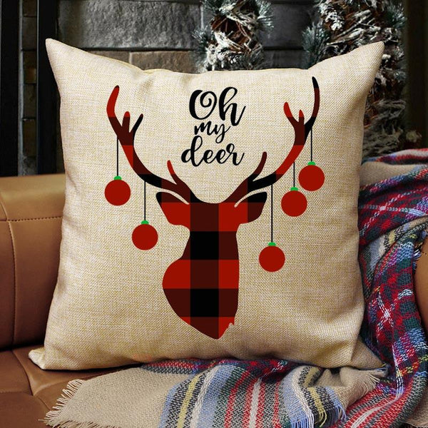 Plaid Christmas Elk Oh My Deer Pillowcase without Pillow