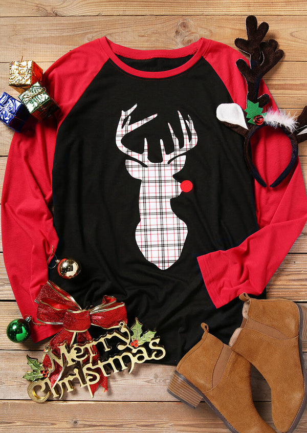 Merry Christmas Reindeer Plaid Printed Splicing T-Shirt Tee - Black