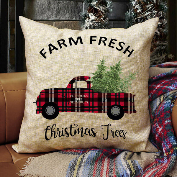Plaid Printed Car Farm Fresh Pillowcase without Pillow