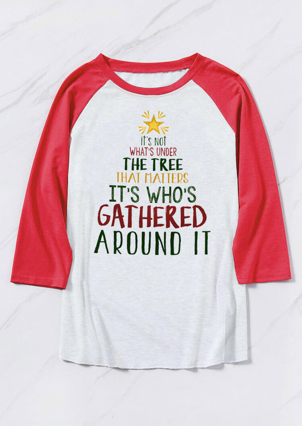 Christmas It's Who's Gathered Around It T-Shirt Tee - Light Grey