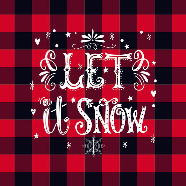 Christmas Plaid Let It Snow Pillowcase without Pillow