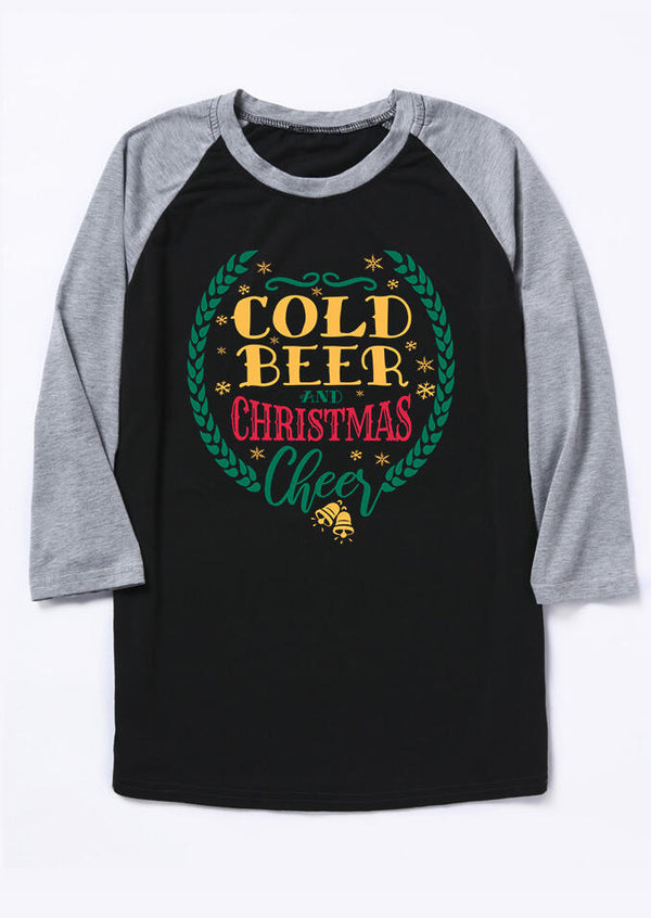 Cold Beer And Christmas Cheer T-Shirt Tee - Black