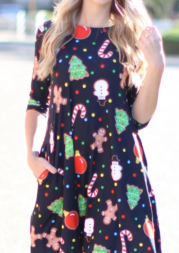 Christmas Trees Snowman Pocket Mini Dress - Black