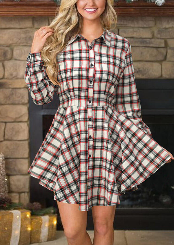 Plaid Printed Button Turn-down Collar Mini Dress