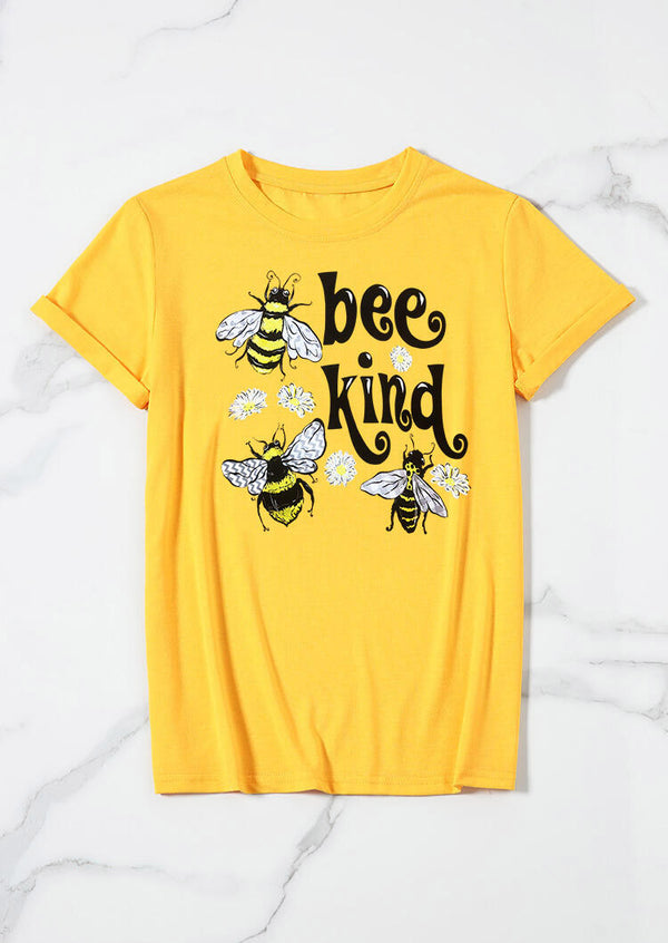 Bee Kind Floral O-Neck T-Shirt Tee - Yellow