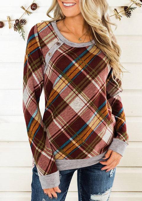 Plaid Splicing Button Blouse without Necklace - Gray