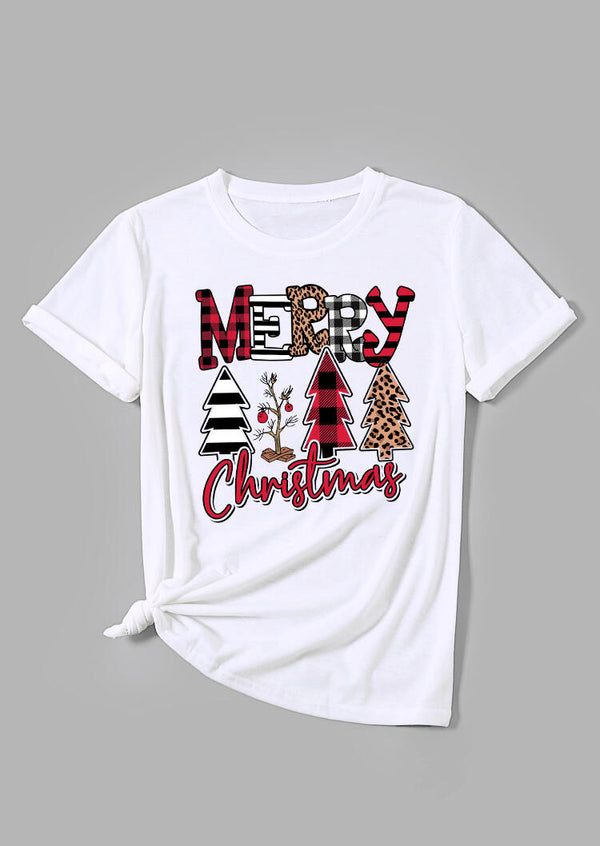 Merry Christmas Trees Plaid Striped Leopard Printed T-Shirt Tee - White