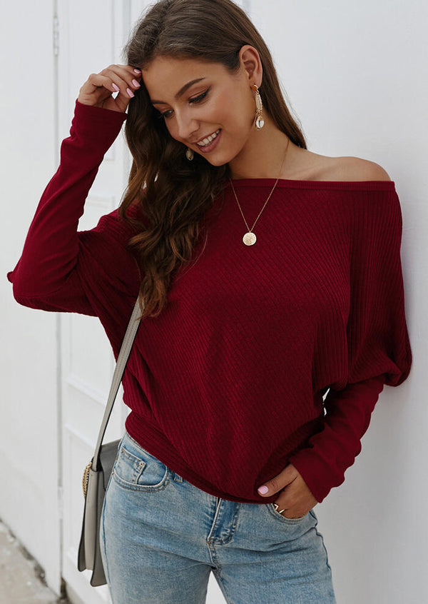 Solid Knitted Slash Neck Blouse without Necklace - Burgundy