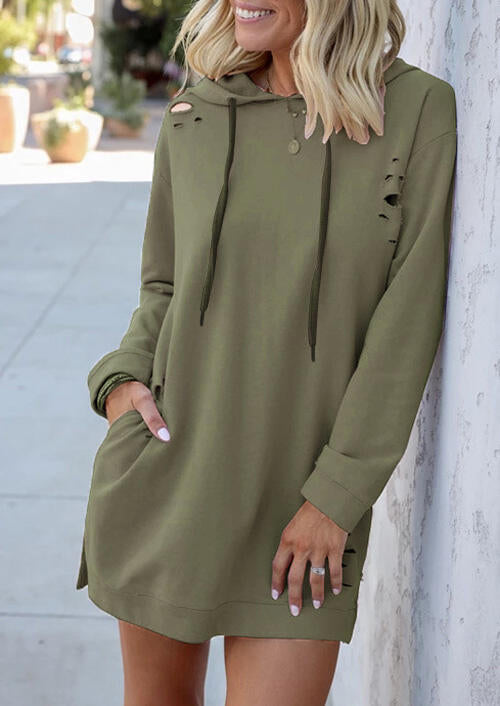 Solid Hollow Out Pocket Drawstring Mini Dress without Necklace - Army Green