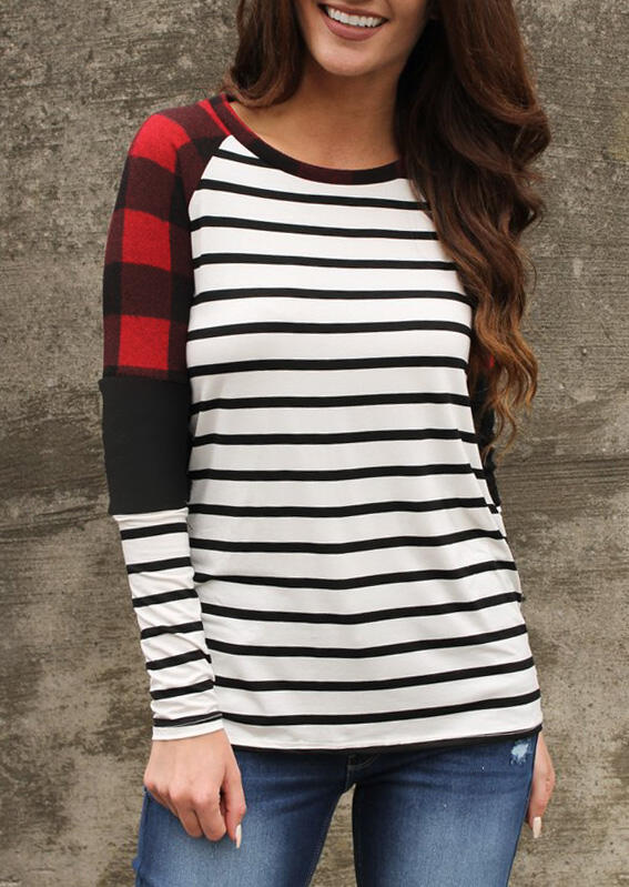 Plaid Striped Printed Splicing Blouse