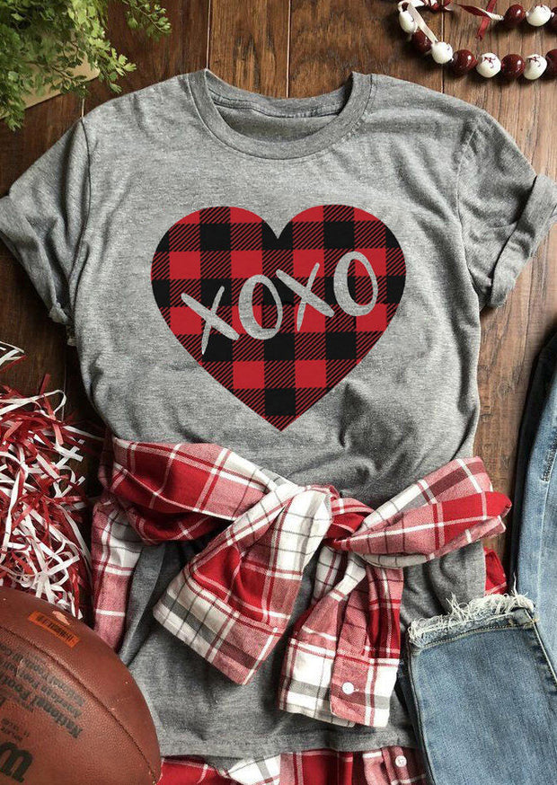 Valentine Plaid Splicing Xoxo Heart T-Shirt Tee - Gray