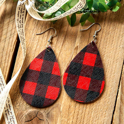 Dual-Sided Plaid Leather Earrings