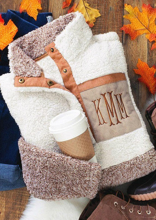 Monogrammed Color Block Button Plush Sweatshirt - Beige