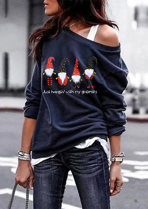 Christmas Just Hangin' with My Gnomies Sweatshirt without Necklace - Navy Blue