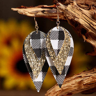 Plaid Sequined Three-Layered PU Leather Earrings