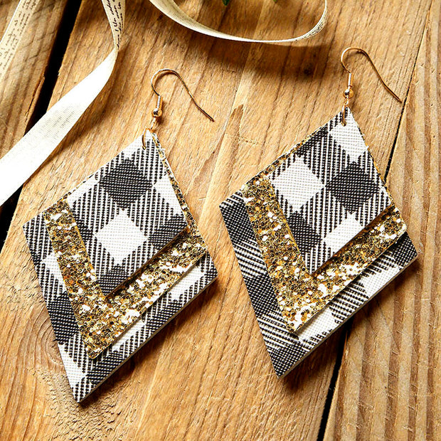 Plaid Sequined Diamond-Shaped Three-Layered Leather Earrings